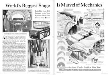 Two-page feature of the technical features and impressive stage machinery as featured in the February 1933 edition of <i>Popular Science</i> (910KB PDF)