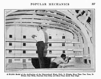 Photo of the large-scale model of Radio City Music Hall, as featured in the March 1933 edition of <i>Popular Mechanics</i> (JPG)