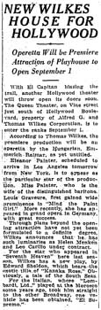 Report of progress of the new theatre, reported to be named <i>The Queen Theater</i>, as printed in the 2nd May 1926 edition of the <i>Los Angeles Times</i> (410KB PDF)