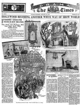 News of the imminent opening of the Vine St Theatre and Hollywood Playhouse, as reported in the 16th January 1927 edition of the <i>Los Angeles Times</i> (1.3MB PDF)