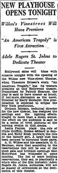 News of the theatre's opening, as printed in the 19th January 1927 edition of the <i> Los Angeles Times</i> (50KB PDF)