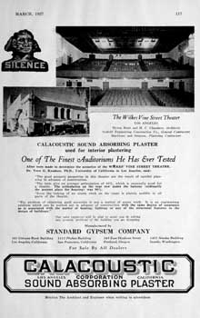 Advertisement for Calacoustic sound absorbing plaster from the March 1927 edition of <i>Architect and Engineer</i> (320KB PDF)