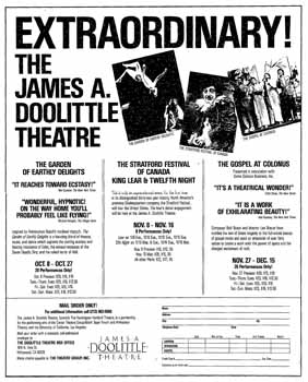 Opening ad for the Center Theatre Group season at the newly-named <i>James A. Doolittle Theatre</i>