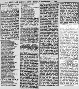 "Review of the opening night from ""The Edinburgh Evening News"" of 11th September 1883, courtesy Johnston Press Plc, scanned online by the British Newspaper Archive (600KB PDF)"