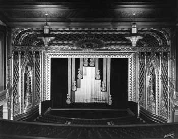 Auditorium in 1931 showing split-panel house curtain with curlicue decoration, held and scanned/published online by the Los Angeles Public Library (JPG)