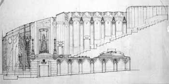 Longitudinal Section sketch, held by the University of California, Los Angeles, Library - Department of Special Collections (JPG)