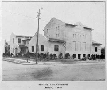 "The Scottish Rite Cathedral circa 1915, from ""History of Scottish Rite Masonry in Texas"", held by the Library of Congress and scanned online by the Internet Archive (JPG)"