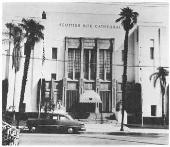 Scottish Rite Temple, completed 1925; courtesy Scottish Rite Cathedral Association of Pasadena, Inc. (JPG)