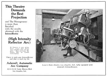 "The State Theatre's Projection Booth from an advertisement from ""Exhibitors Herald"" (29 October 1927), held by the Museum of Modern Art Library in New York and scanned online by the Internet Archive (JPG)"
