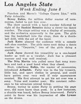"A review of vaudeville at the State from ""Exhibitors Herald and Moving Picture World"" (16th June 1928), held by the Library of Congress and scanned online by the Internet Archive (150KB PDF)"