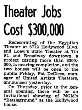 News of progress on the theatre's redecoration as printed in the 27th November 1949 edition of the <i>Los Angeles Times</i> (225KB PDF)