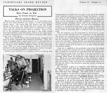 "A feature on the state-of-the-art Projection Booth at the State Theatre from the ""Exhibitors Trade Review"" (17 December 1921), scanned by the Internet Archive (PDF)"