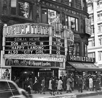Marquee on Broadway in 1937, courtesy Los Angeles Public Library (JPG)