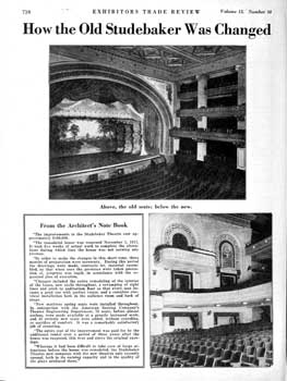 Feature on the improvements made to the Studebaker Theater from the 5th August 1922 edition of <i>Exhibitors Trade Review</i>, held by the Library of Congress and digitized by the Internet Archive (770KB PDF)