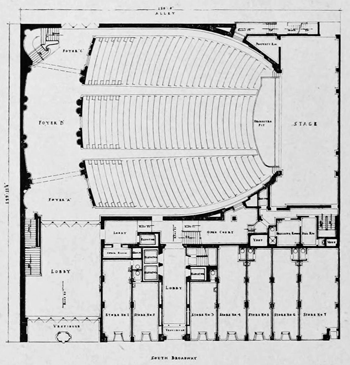 "Orchestra-level Plan (1927) from the July 1928 issue of ""Architect and Engineer"", held by the San Francisco Public Library and scanned/published online by the Internet Archive (5MB PDF)"