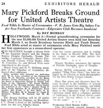 News of ground breaking ceremony as featured in <i>Exhibitors Herald</i> (12 March 1927), held by the Museum of Modern Art Library in New York and scanned online by the Internet Archive (380KB PDF)