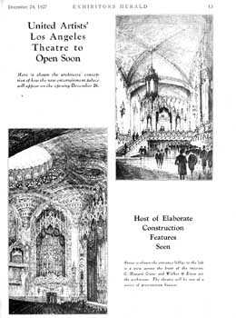 Sketches ahead of opening as featured in <i>Exhibitors Herald</i> (24 December 1927), held by the Museum of Modern Art Library in New York and scanned online by the Internet Archive (260KB PDF)