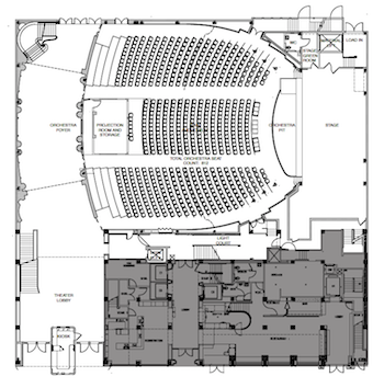 Orchestra-level Plan of the renovated theatre courtesy of the theatre's website (PDF)