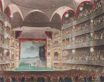 Drawing of the third theatre by Thomas Rowlandson, dated 1st August 1808.  Courtesy New York Public Library (JPG)