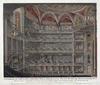 Engraving of the third theatre by John Winston, dated 27th September 1820.  Courtesy Victoria & Albert Museum (JPG)