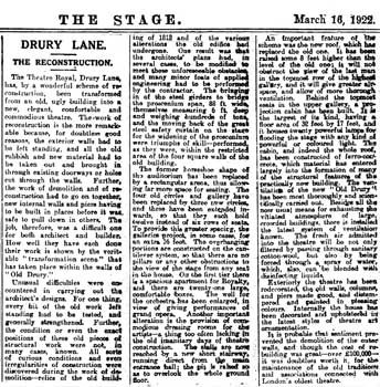 Article in <i>The Stage</i> (16 March 1922) describing the changes to the theatre, courtesy British Newspaper Archive (550KB PDF)
