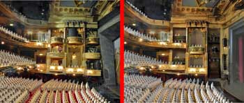 Before (left) and after (right) comparison of alterations to the auditorium to be undertaken during the 2019 renovation project, by Haworth Tompkins on behalf of LW Theatres (JPG)