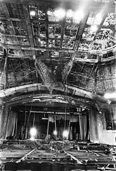 Stage of the San Antonio Municipal Auditorium following the devastating fire of 1979 (JPG)