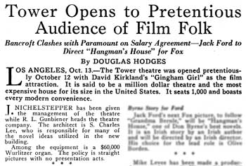 Short article about the theatre's opening night from <i>Exhibitors Herald</i> (22 October 1927), held by the Museum of Modern Art Library in New York and scanned online by the Internet Archive (250KB PDF)