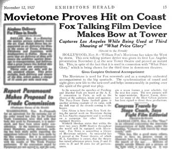 Short article about Movietone being trialled at the Tower Theatre, from <i>Exhibitors Herald</i> (12 November 1927), held by the Museum of Modern Art Library in New York and scanned online by the Internet Archive (525KB PDF)