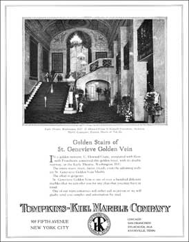 "Advert from the April 1925 edition of ""Through The Ages"" showcasing the use of St Genevieve Golden Vein marble at the Earle Theatre (JPG)"