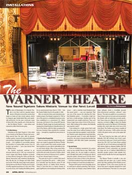 "Article from April 2013 edition of ""Front Of House Magazine"" featuring a new sound system for the Warner Theatre (4.3MB PDF)"