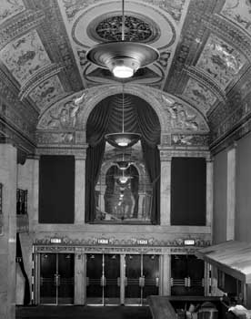 Lobby from Mezzanine Stairs facing toward entrance doors,  from the 1990 Historic American Buildings Survey (HABS) held by the Library of Congress (JPG)