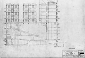 Cross section of the originally-planned 11-story multi-use building
